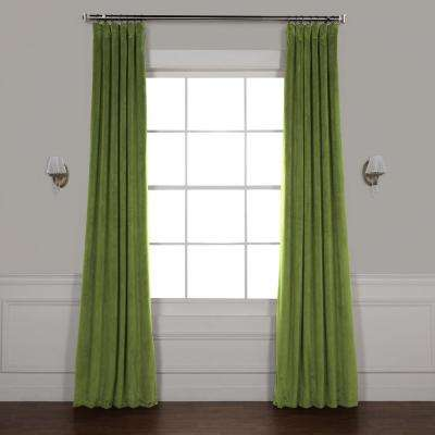 Signature Basque Green Blackout Velvet Curtain - 50 in. W x 120 in. L