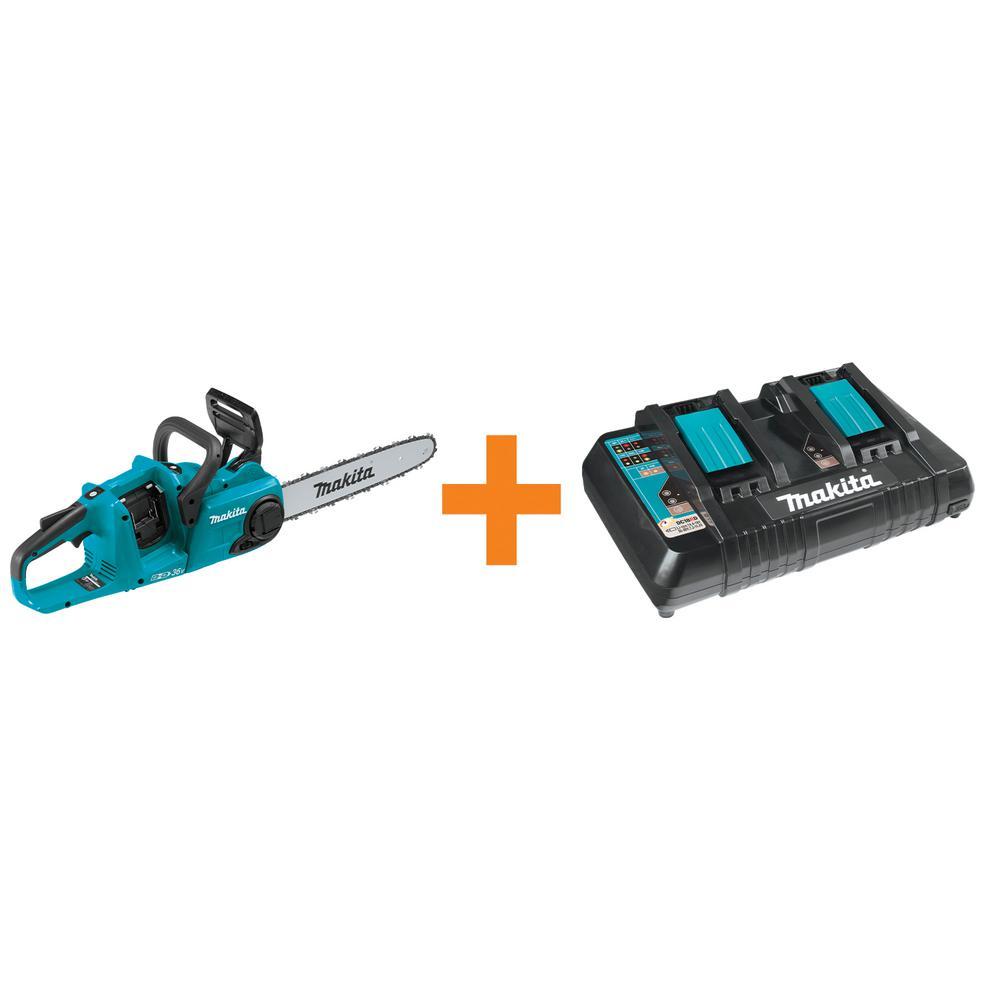 14 in. 18-Volt X2 (36-Volt) LXT Brushless Cordless Chain Saw with Bonus 18-Volt LXT Dual Port Rapid Optimum Charger