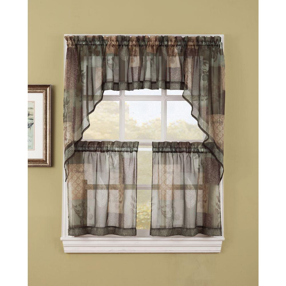 LICHTENBERG Sheer Sage Green Eden Printed Textured Sheer Kitchen Curtain  Swags, 56 in. W x 36 in. L