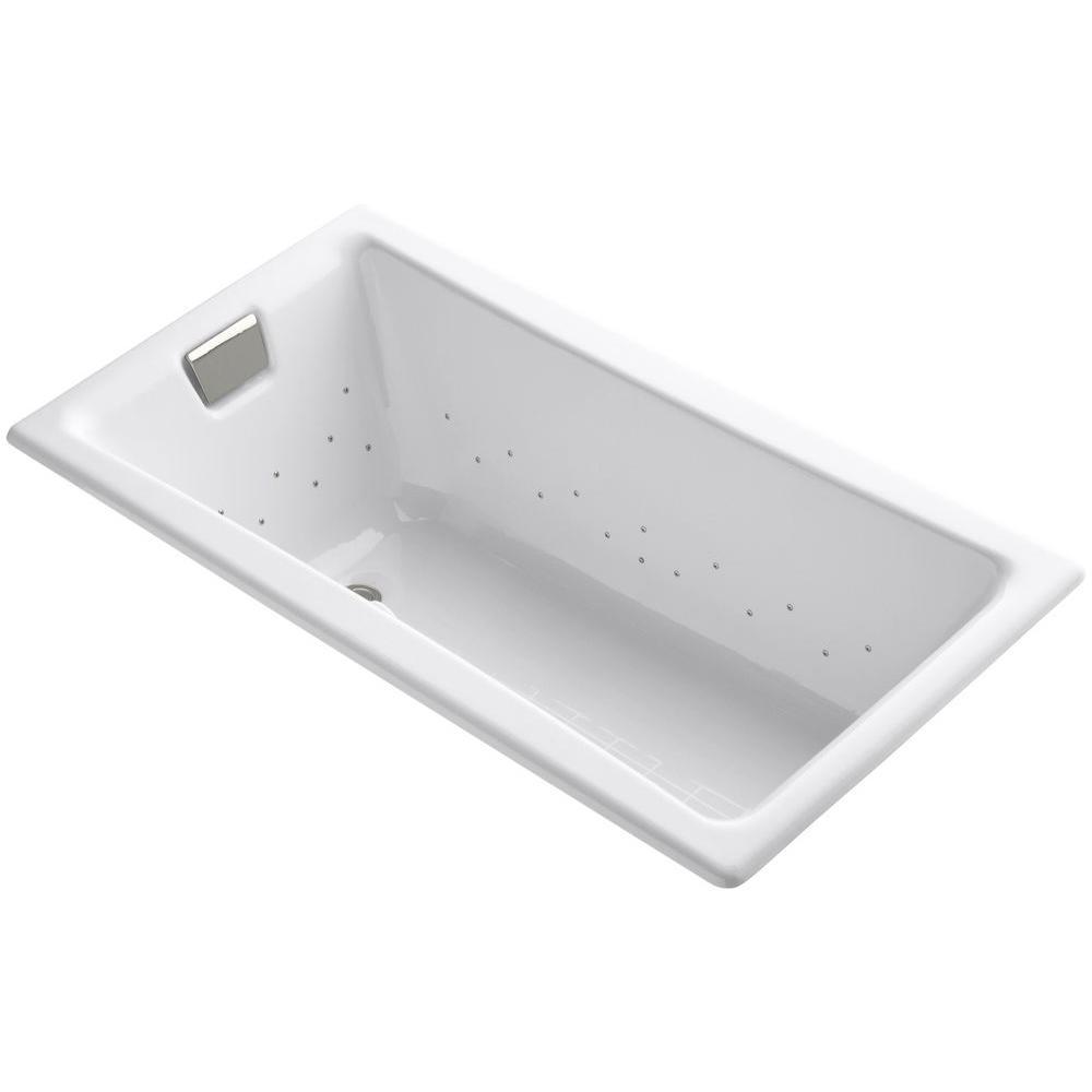 KOHLER Tea-for-Two 5 ft. Rectangular Drop-in Whirlpool Bathtub in White