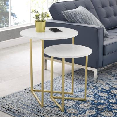 White Faux Marble/Gold 2-Piece Round Nesting End Tables