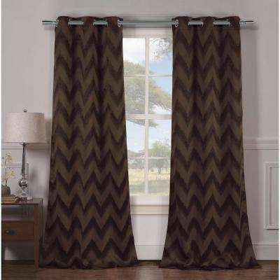 Blackout Lysanna 84 in. L Blackout Grommet Panel in Chocolate (2-Pack)