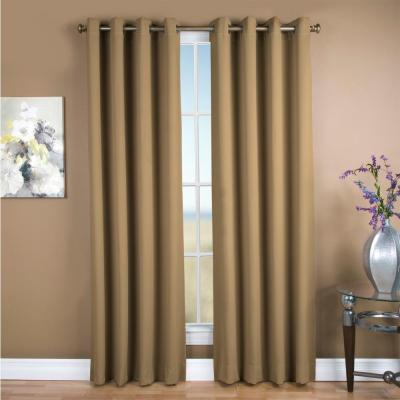 Ultimate Blackout 56 in. W x 63 in. L Polyester Blackout Window Panel in Sand