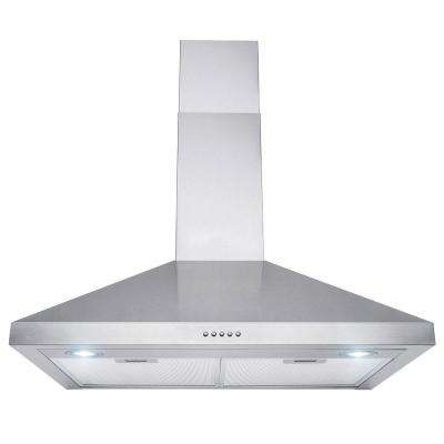 30 in. Convertible Wall Mount Range Hood in Stainless Steel with Push Control