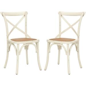 Safavieh Franklin Ivory Oak Rattan X Back Dining Chair Set Of 2