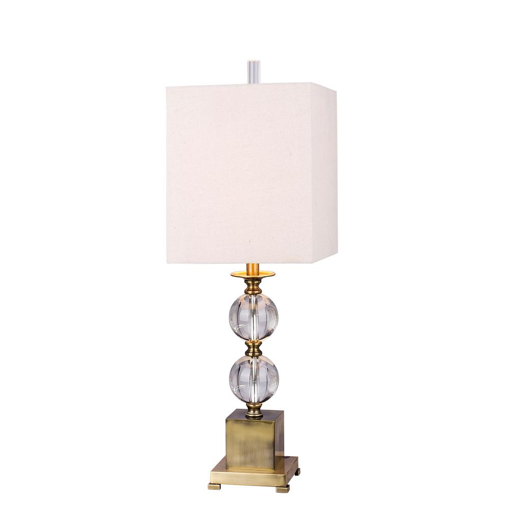 Charmant Fangio Lighting Modern Stacked Crystal Ball 33 In. Table Lamp With Antique  Brass Metal Accents