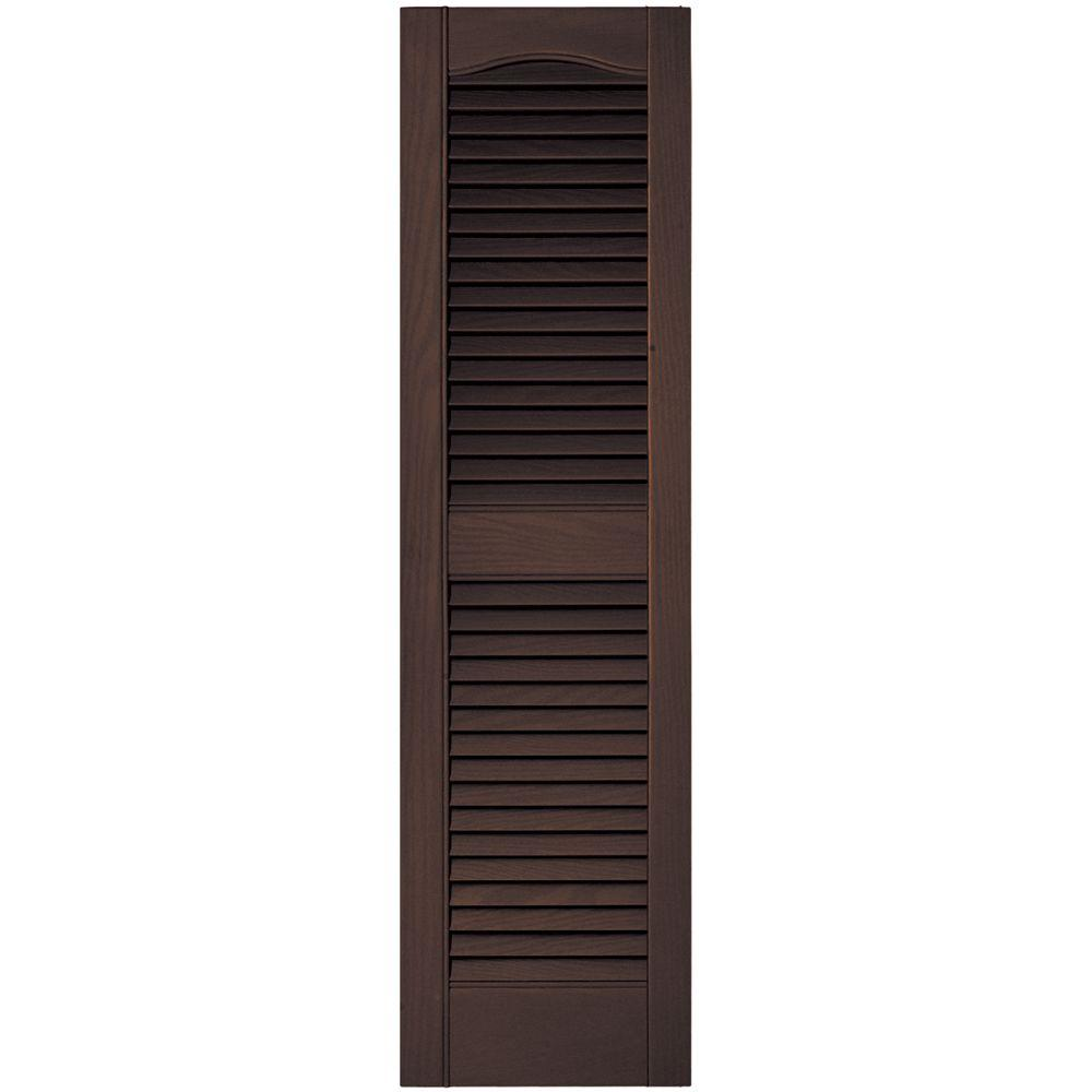 Builders Edge 12 In X 43 In Louvered Vinyl Exterior Shutters Pair In 009 Federal Brown