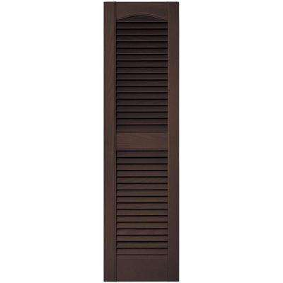 12 in. x 43 in. Louvered Vinyl Exterior Shutters Pair in #009 Federal Brown