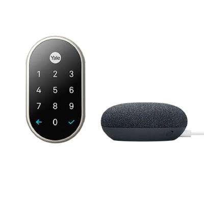 Nest x Yale Lock in Satin Nickel with Google Home Mini Charcoal