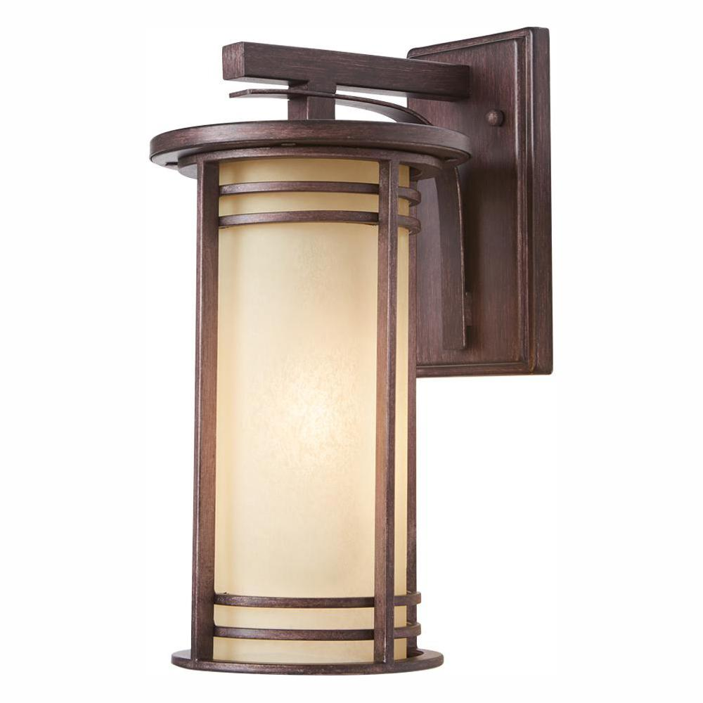 Home Decorators Collection 15 in. 1-Light Bronze Outdoor Wall Lantern Sconce with Amber Glass