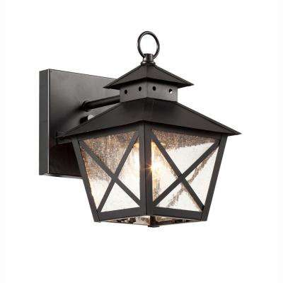 Farmhouse 1-Light Outdoor Black Wall Lantern with Seeded Glass