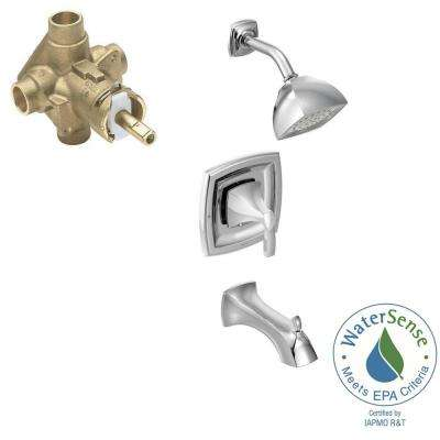 Voss Single-Handle 1-Spray PosiTemp Tub and Shower Faucet Trim Kit with Valve in Chrome (Valve Included)