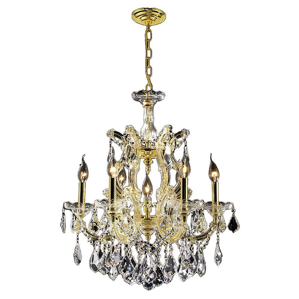 Worldwide Lighting Maria Theresa Collection 7-Light Polished Gold and Clear Crystal Chandelier