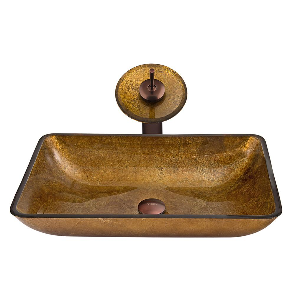 vigo rectangular glass vessel sink in copper with waterfall faucet set in oil rubbed bronze. Black Bedroom Furniture Sets. Home Design Ideas