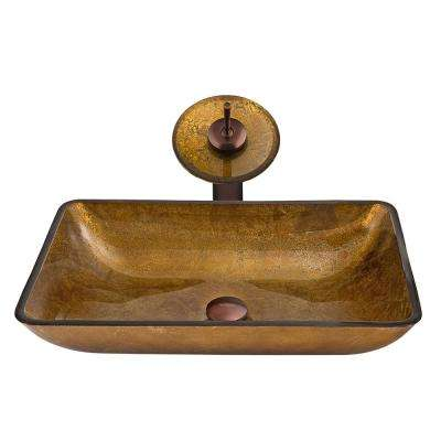Rectangular Glass Vessel Sink in Copper with Waterfall Faucet Set in Oil Rubbed Bronze