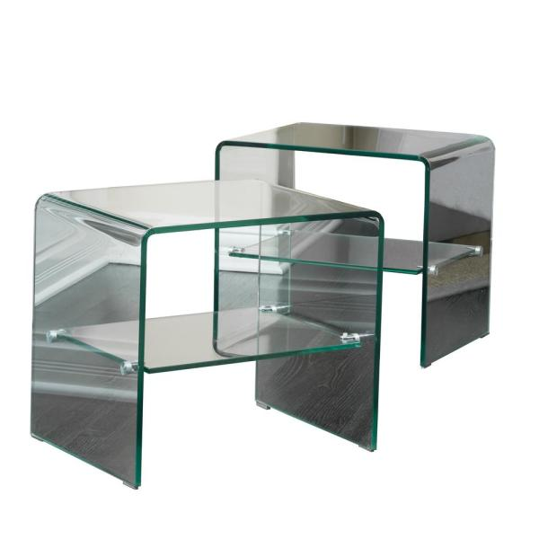 Clear Tempered Glass End Tables (Set of 2)