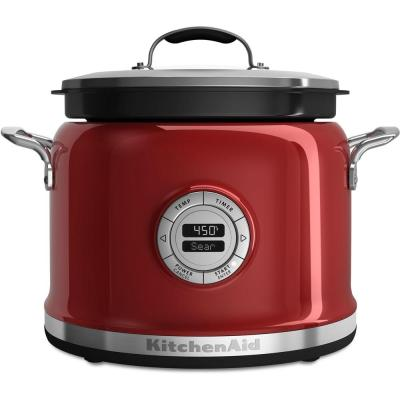 4 Qt. Candy Apple Red Electric Multi-Cooker with Programmable Settings