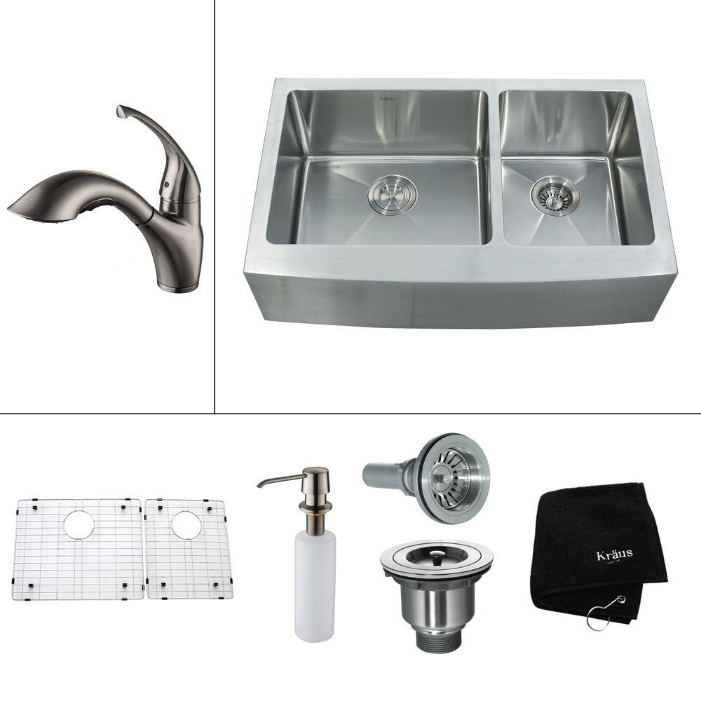 KRAUS All-in-One Farmhouse Apron Front Stainless Steel 35.9 in. 0-Hole Double Bowl Kitchen Sink with Satin Nickel Accessories