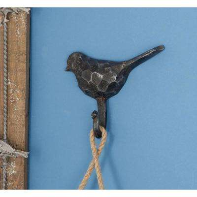 7 in. W x 6 in. H Hammered Gray Iron Bird Wall Hook
