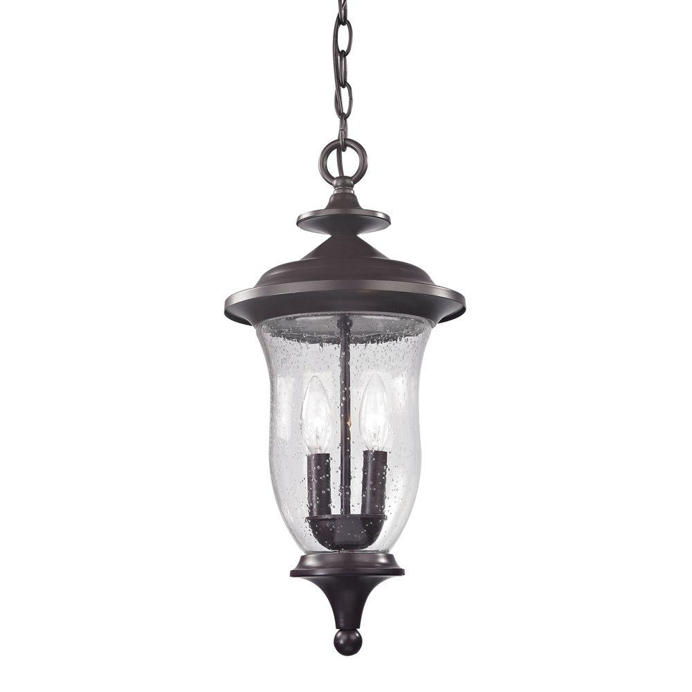 Titan Lighting Trinity 2-Light Oil Rubbed Bronze Outdoor Pendant