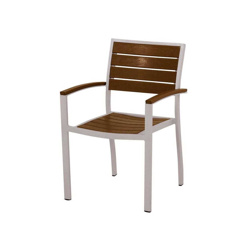 Euro Textured Silver Aluminum/Plastic Outdoor Dining Arm Chair in Teak Slats