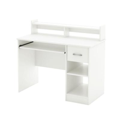 41 in. Pure White Rectangular 1 -Drawer Computer Desk with Keyboard Tray