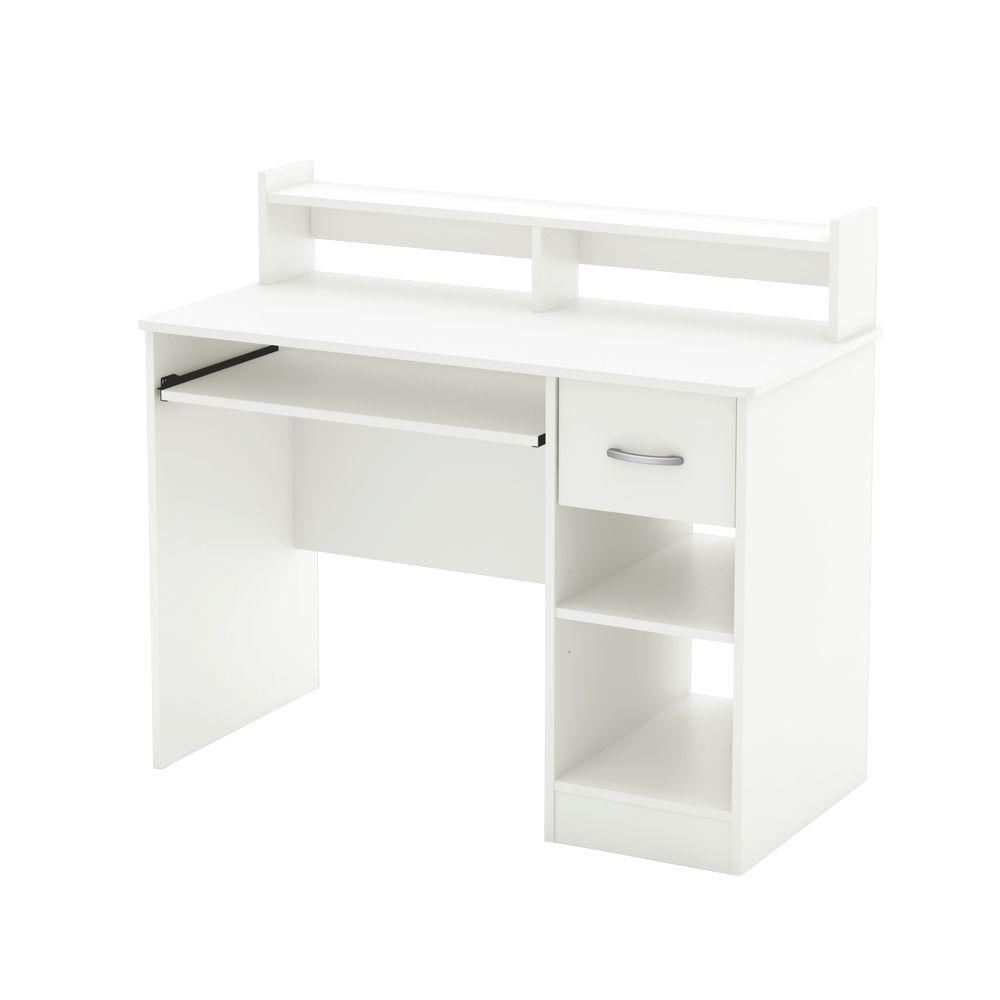 South Shore Axess Pure White Desk with Hutch 7250076C