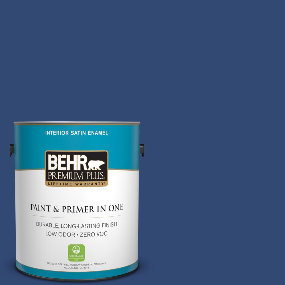 BEHR Premium Plus 1-gal. #S-H-590 Sailboat Zero VOC Satin Enamel Interior Paint