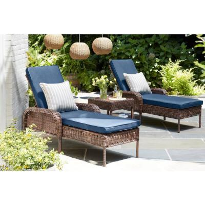 Cambridge Brown Wicker Outdoor Patio Chaise Lounge with Standard Midnight Navy Blue Cushions