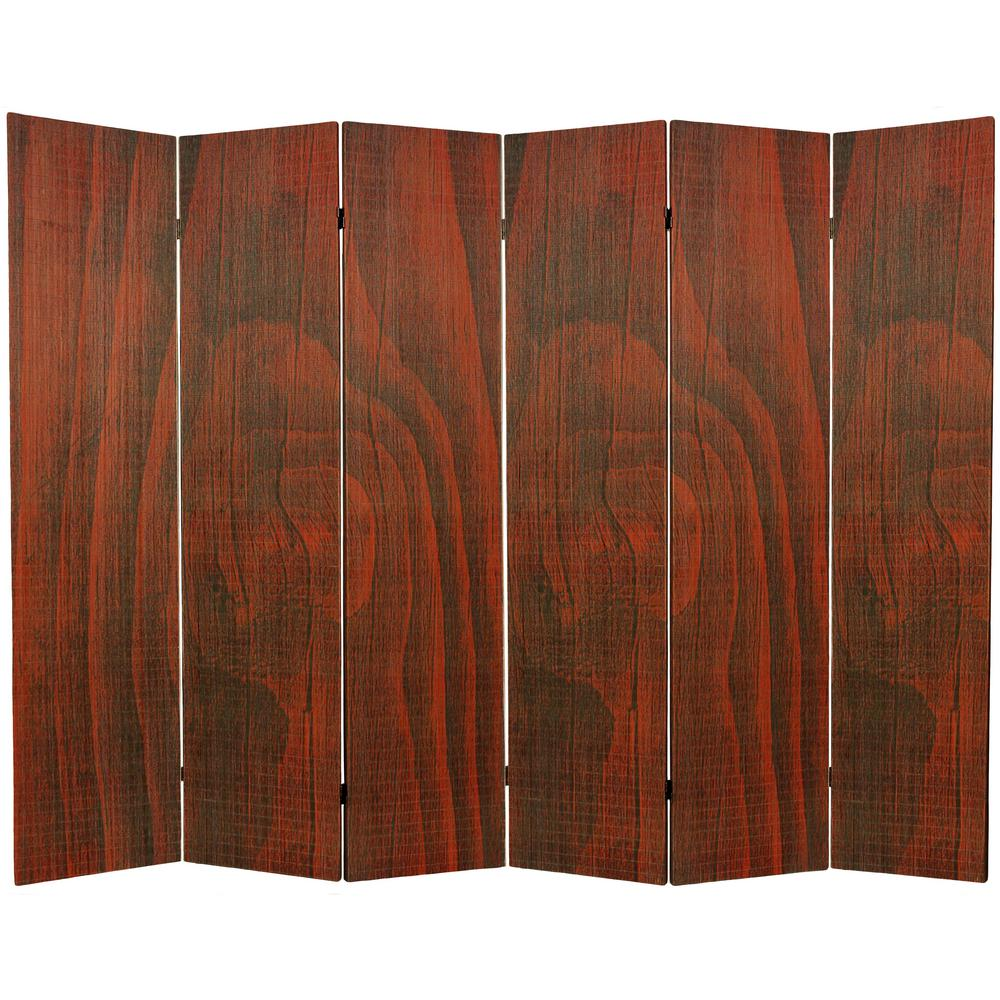Oriental Furniture 6 Ft. Walnut Framless Bamboo 6 Panel Room Divider