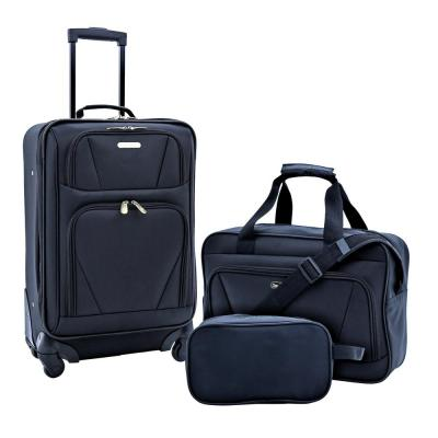 3-Piece Softside Carry-On Set with Tote and Travel Kit