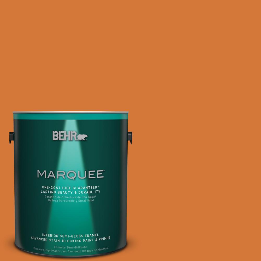 1 gal. #T17-19 Fired Up Semi-Gloss Enamel Interior Paint