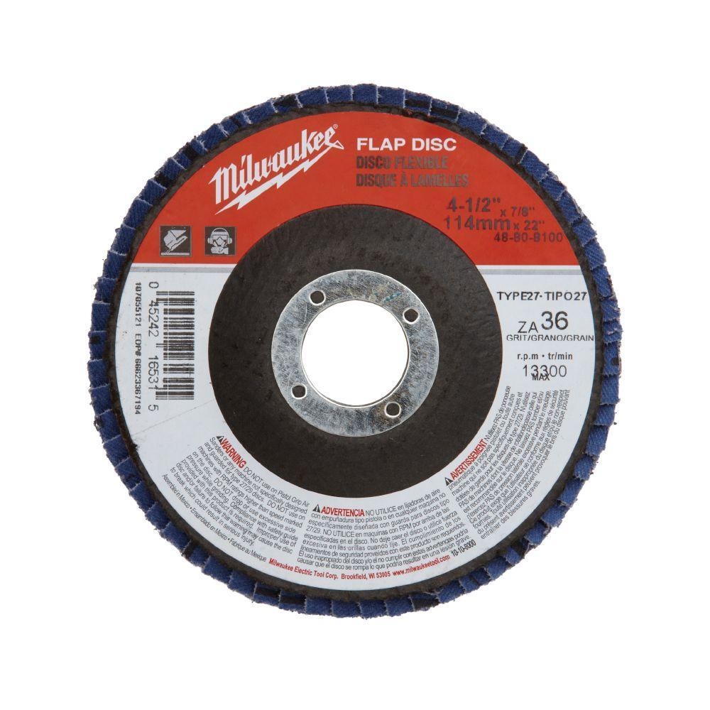 4-1/2 in. x 7/8 in. 36-Grit Flap Disc (Type 27)
