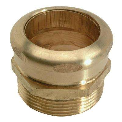 1-1/4 in. O.D. Compression x 1-1/4 in. MIP (1-1/4 in. I.D. Female Sweat) Brass Waste Connector with Rough Finish