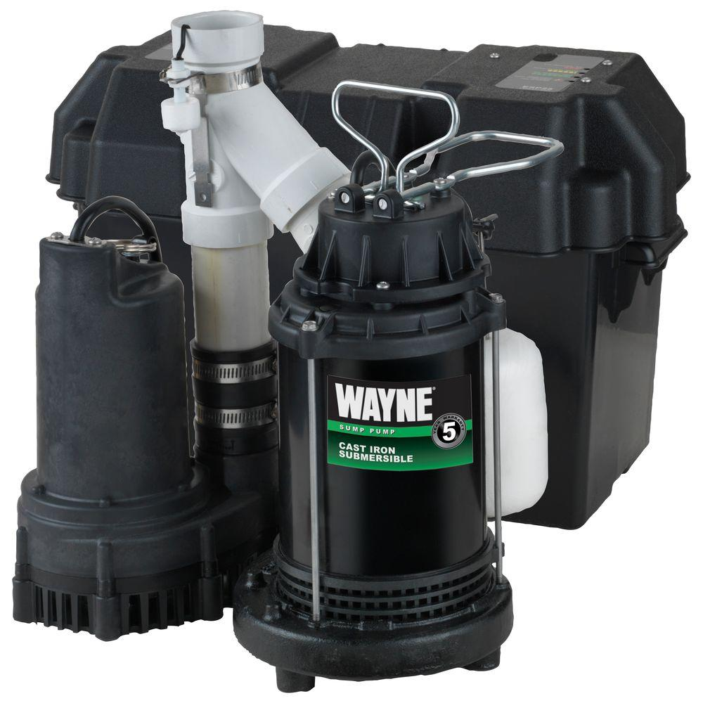 wayne 1 2 hp battery backup sump pump system wss30v the home depot  1 2 hp battery backup sump pump system