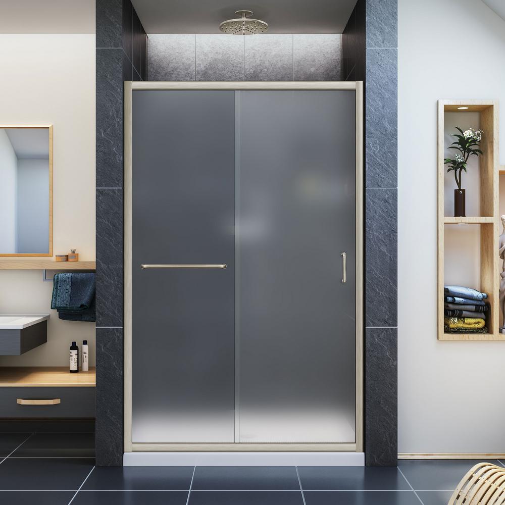 Infinity-Z 36 in. x 48 in. Semi-Frameless Sliding Shower Door in Brushed Nickel with Center Drain White Base
