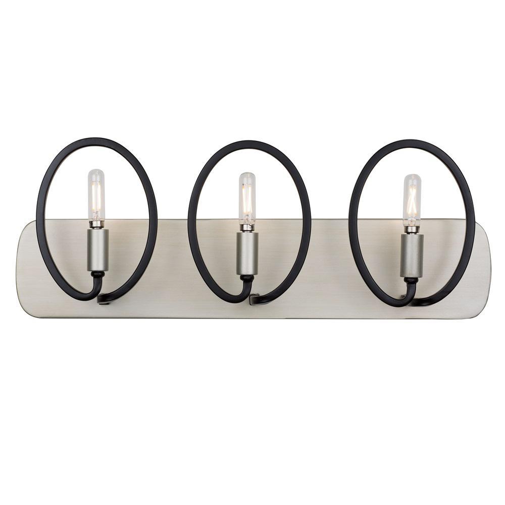 Eliptico 3-Light Silverado and Black Bath Light