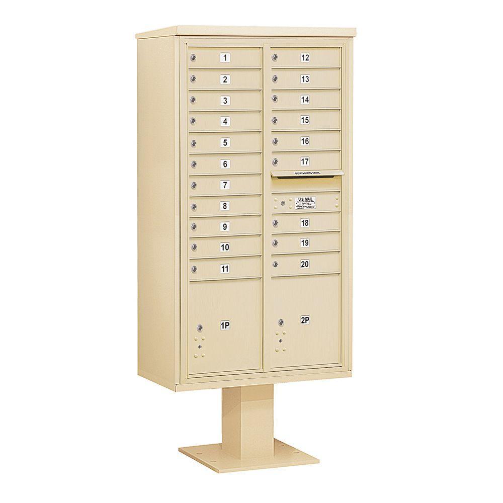 3400 Series Sandstone Mount 4C Pedestal Mailbox with 20 MB1 Doors/2 PL