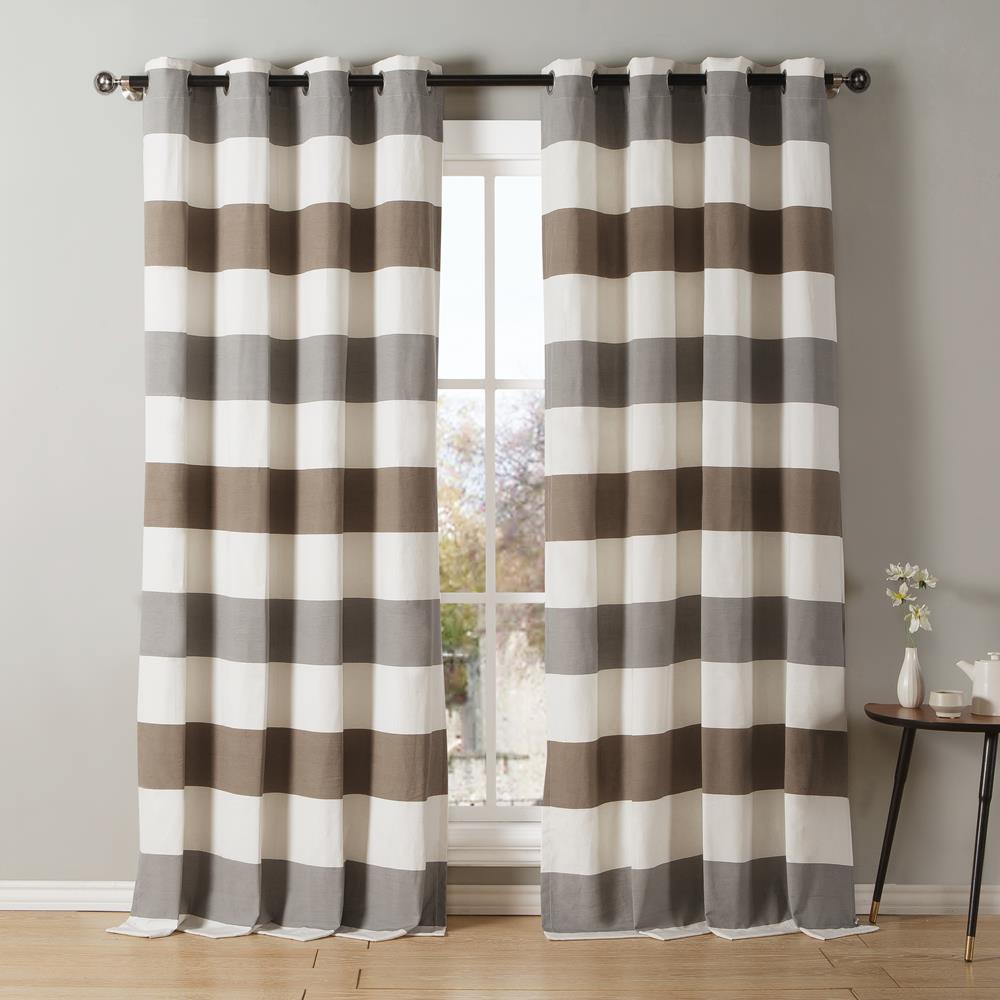Iouri 54 in. W x 84 in. L Polyester Window Panel in Grey-Latte