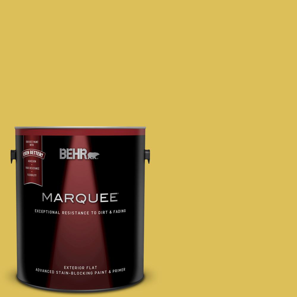 52bb8490a2e BEHR MARQUEE 1 gal.  P320-6 Sulfur Yellow Flat Exterior Paint and Primer