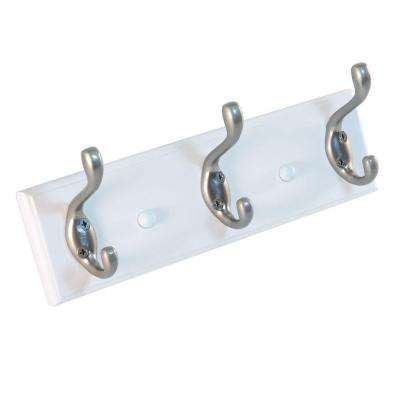 10 in. Nystrom Hook Rack White Board with 3 Aluminum Double Hooks