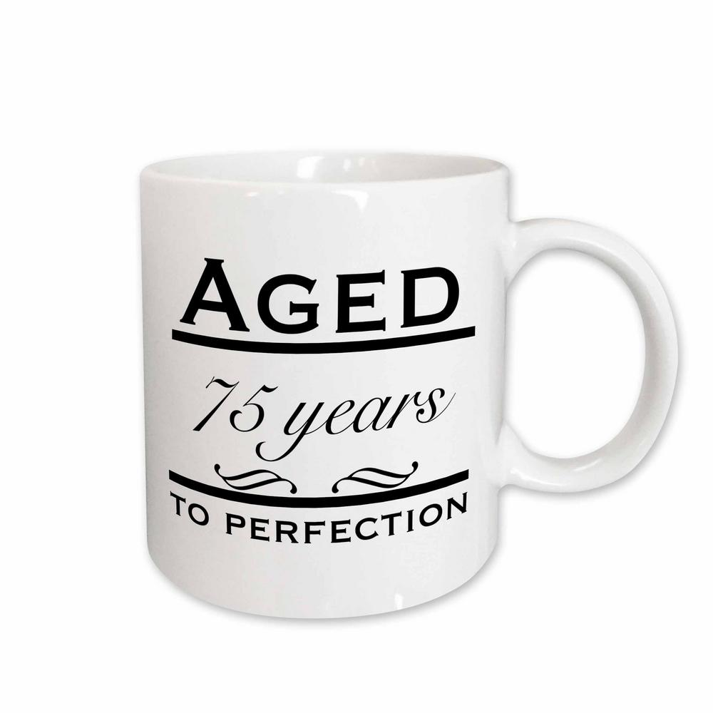 Coffee Mugs With Quotes   3drose Evadane Funny Quotes Aged 75 Years To Perfection 11 Oz White