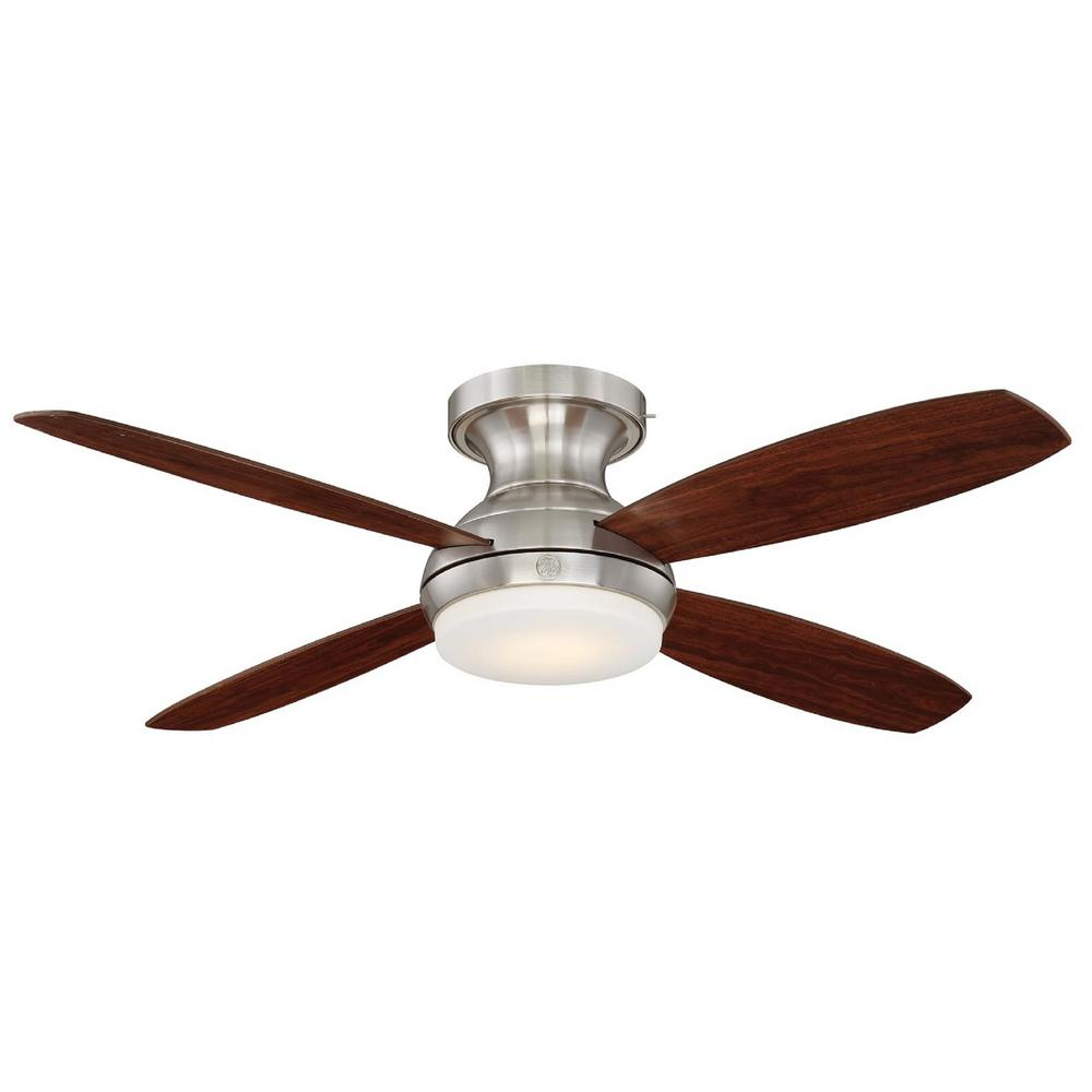 GE Pierson 52 in. LED Indoor Brushed Nickel Ceiling Fan with SkyPlug Technology with Remote Control
