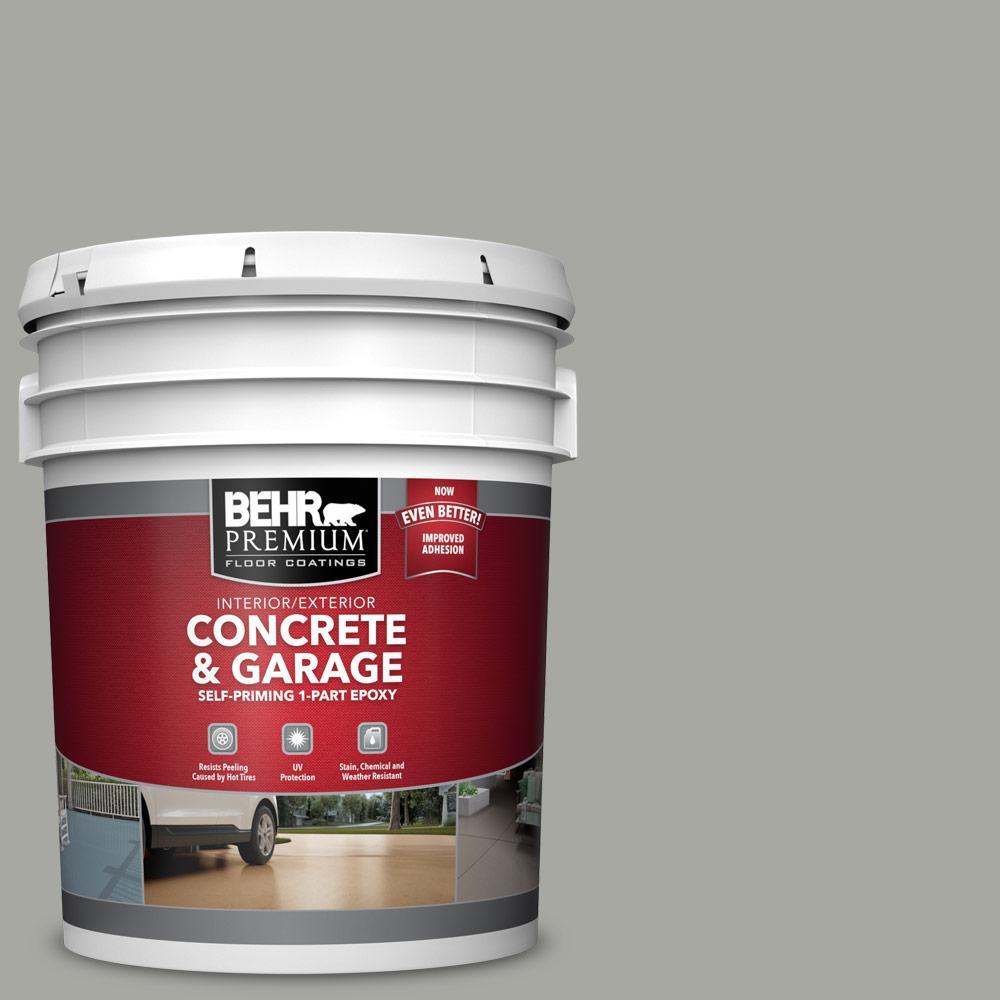 BEHR PREMIUM 5 gal. #PFC-68 Silver Gray 1-Part Epoxy Satin Interior/Exterior Concrete and Garage Floor Paint