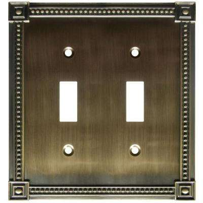 Traditional 2 Toggle Wall Plate - Brushed Brass