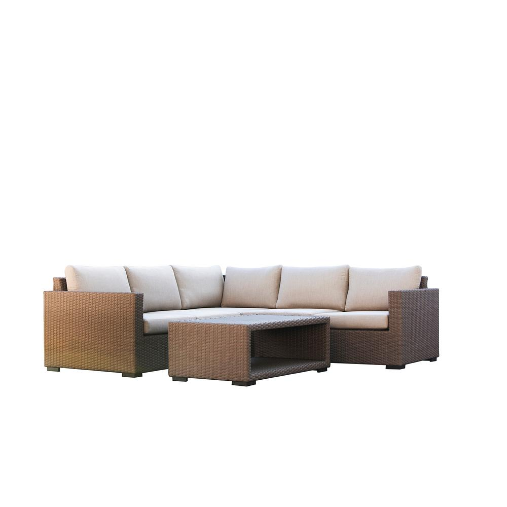Patio Plus Wicker Outdoor Sectional Seating Set Beige Cushions