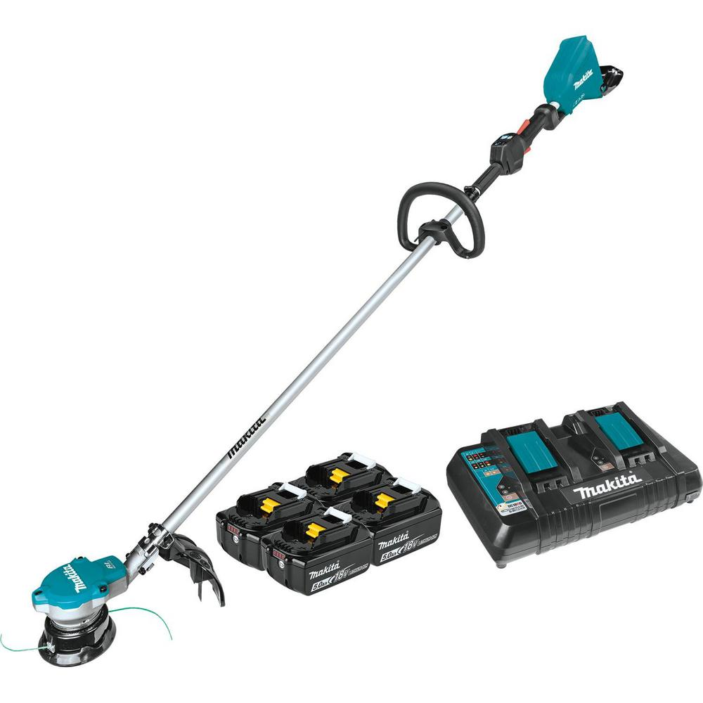 Makita 18-Volt X2 (36-Volt) LXT Lithium-Ion Brushless Cordless String Trimmer Kit with Four 5.0 Ah Batteries