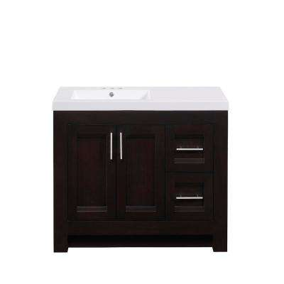 40 in. W x 18.12 in. D x 34.00 in. H Vanity in Walnut with Cultured Marble Top in White with White Basin