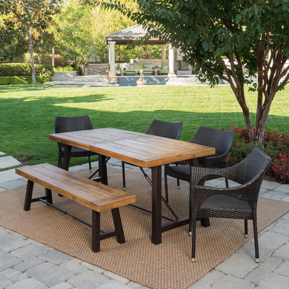 Aloha Multi-Brown 6-Piece Wicker Outdoor Dining Set