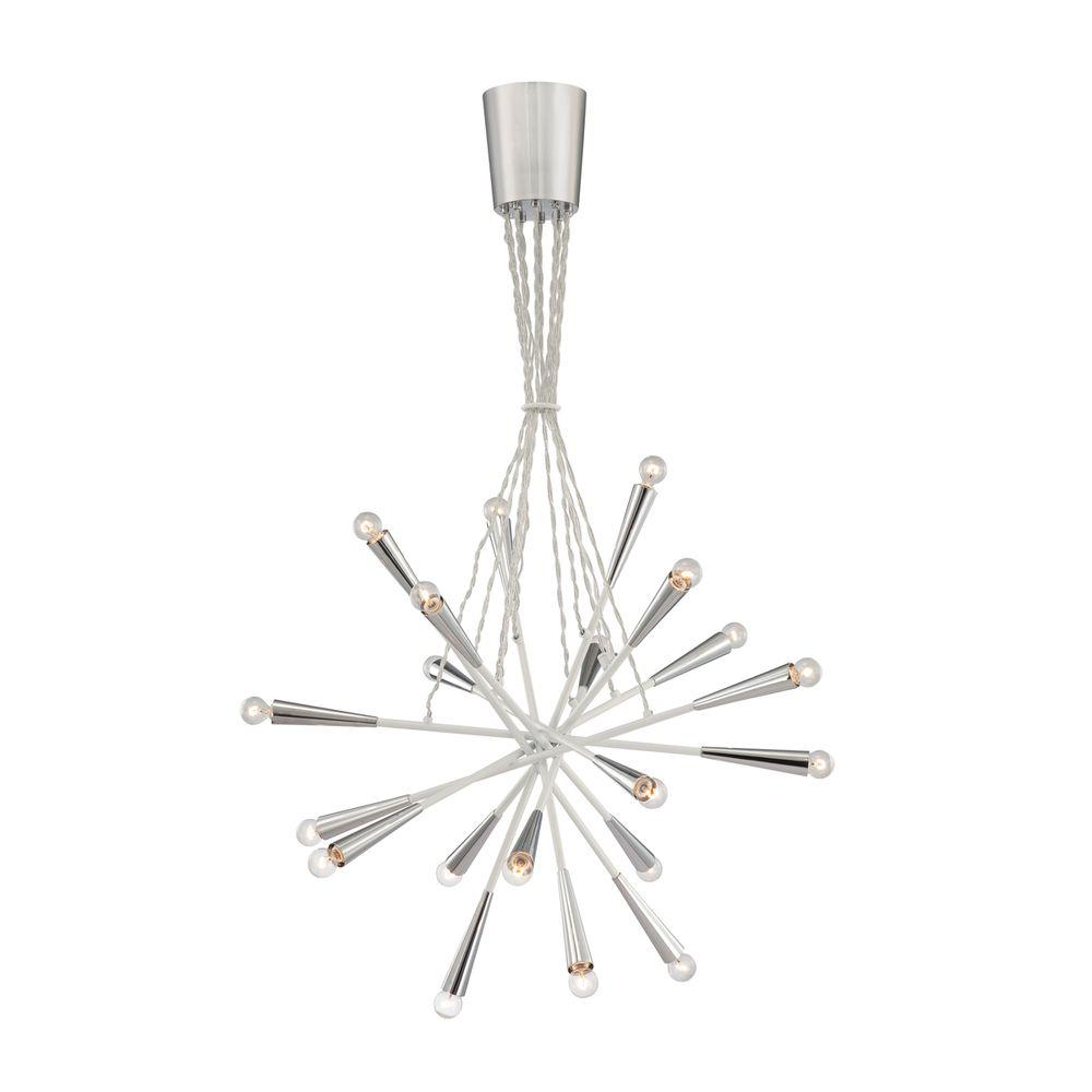 Zazu Collection 20-Light Chrome and White Pendant